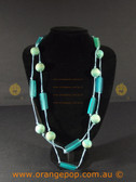 Mixed blue beaded necklace
