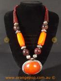 Chunky orange beads women's necklace