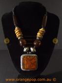 Large square orange toned women's necklace