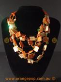 Shorter orange women's necklace