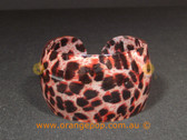 Red toned leopard print women's cuff/bracelet