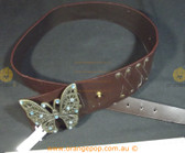 Big Butterfly buckle Brown Leather Women's Ladies Fashion Belt