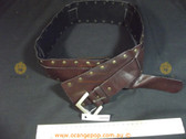 Brown leather look studded Women's Ladies Fashion Belt