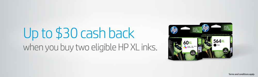 Up to $30 Cash Back with 2 x Eligible HP XL Ink Purchases
