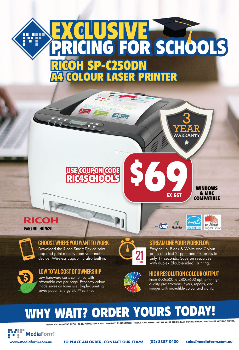 exclusive to schools ricoh sp c250dn a4 colour laser printer