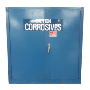 """Pre-Owned Eagle Under Counter, 30 gal. Capacity, 44"""" x 43"""" x 18"""", Blue, Galvanized Steel Door Closed"""