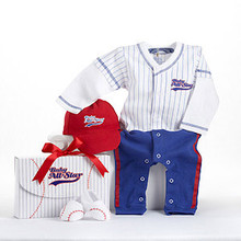 Baby Baseball Three-Piece Layette Set in All-Star Gift Box