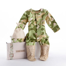 "Baby Camo Two-Piece Layette Set in ""Backpack"" Gift Box"