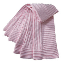 Cable Knit Pink Baby Blanket