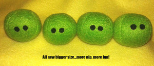 All new size peas...about the size of a golf ball...more nip for your pet!