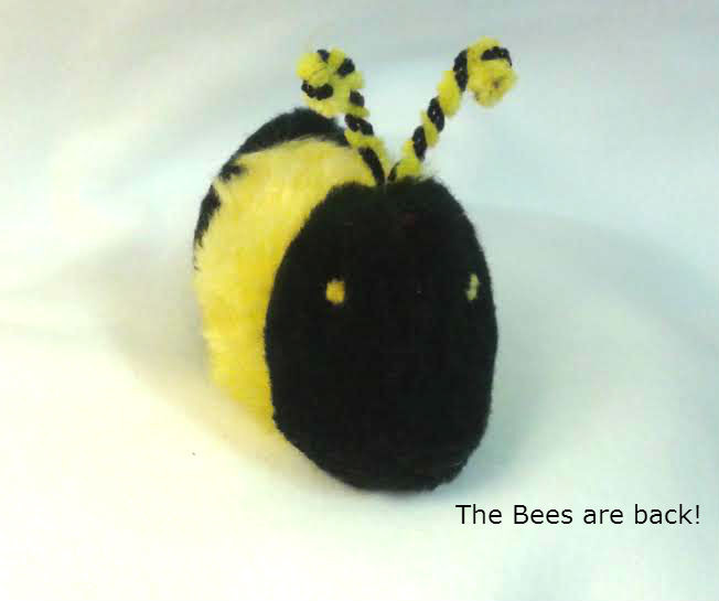 Fun catnip Bumble Bee with striped antennae.