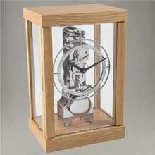 Hermle 14 Day Oak finished timber mantle clock.