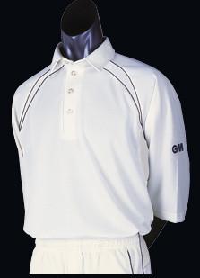 GM Teknick Club Cricket Shirts - 3/4 Sleeve green trim