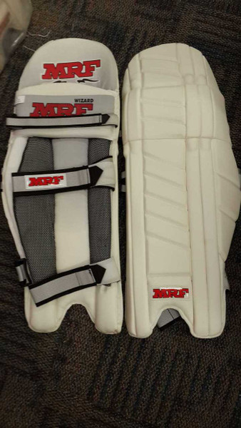 The MRF Wizard Batting Pads made by MRF