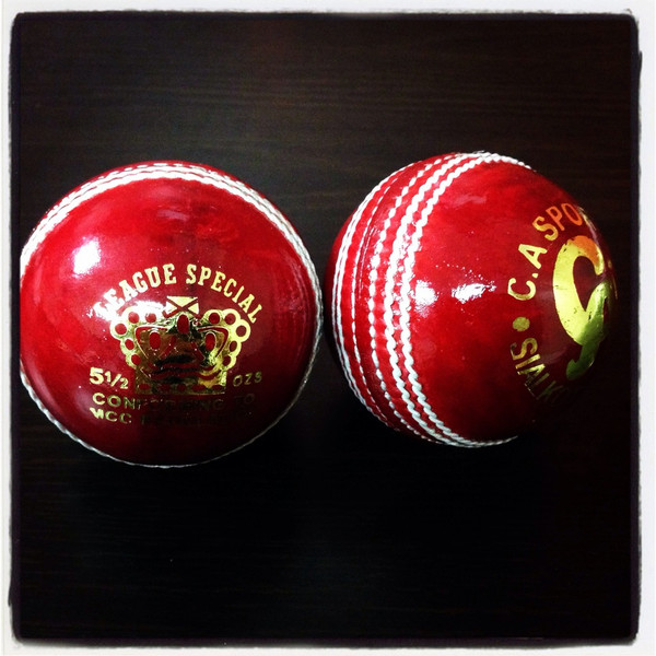 The high quality, hand stitched League special red cricket ball available from Cricket Store online