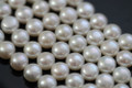 Natural White Button Side-drilled Freshwater Pearls, 9.5 mm