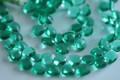 Emerald Green Quartz Faceted Trillion Cut Briolettes, 11 mm