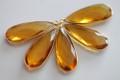 Citrine Yellow Quartz Faceted Long Pear Bezel Gemstone Vermeil Pendant, 34 x 13 mm