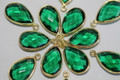 Emerald Green Quartz Faceted Pear Bezel Gemstone Vermeil Pendant, 20 x 11 mm