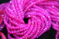Hot Pink Chalcedony Faceted Rondelles, 3.5 - 4 mm