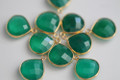 Green Onyx Faceted Heart Bezel Gemstone Vermeil Pendant