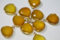 Yellow Chalcedony Faceted Heart Bezel Gemstone Vermeil Pendant, 18 x 15 mm