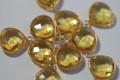 Citrine Yellow Quartz Faceted Heart Bezel Gemstone Vermeil Pendant, 18 x 15 mm