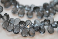 Grey Quartz Faceted Pear Briolettes