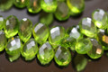 Peridot Green Quartz Faceted Pear Briolettes