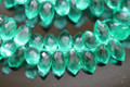 Emerald Green Quartz Faceted Dew Drop Briolettes