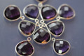 Amethyst Purple Quartz Faceted Heart Bezel Gemstone Sterling Silver Pendant