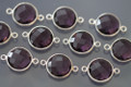 Amethyst Purple Quartz Faceted Coin Bezel Gemstone Sterling Silver Connector