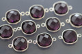 Amethyst Purple Quartz Faceted Cushion Bezel Gemstone Sterling Silver Connector