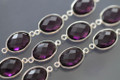 Amethyst Purple Quartz Faceted Oval Bezel Gemstone Sterling Silver Connector
