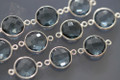 London Blue Quartz Faceted Coin Bezel Gemstone Sterling Silver Connector