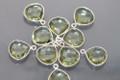 Amethyst Green Quartz Faceted Heart Bezel Gemstone Sterling Silver Pendant