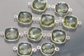Amethyst Green Quartz Faceted Cushion Bezel Gemstone Sterling Silver Connector