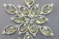 Amethyst Green Quartz Faceted Oval Bezel Gemstone Sterling Silver Connector