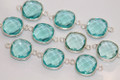 Aquamarine Blue Quartz Faceted Cushion Bezel Gemstone Sterling Silver Connector