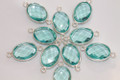 Aquamarine Blue Quartz Faceted Oval Bezel Gemstone Sterling Silver Connector