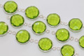 Peridot Green Quartz Faceted Coin Bezel Gemstone Sterling Silver Connector
