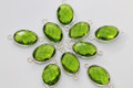 Peridot Green Quartz Faceted Oval Bezel Gemstone Sterling Silver Connector
