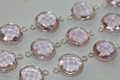 Rose Pink Quartz Faceted Coin Bezel Gemstone Sterling Silver Connector