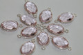 Rose Pink Quartz Faceted Oval Bezel Gemstone Sterling Silver Connector
