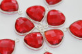 Ruby Red Quartz Faceted Heart Bezel Gemstone Sterling Silver Pendant