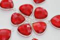 Ruby Red Quartz Faceted Heart Bezel Gemstone Sterling Silver Pendant
