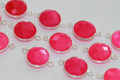 Hot Pink Chalcedony Faceted Coin Bezel Gemstone Sterling Silver Connector