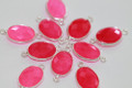 Hot Pink Chalcedony Faceted Oval Bezel Gemstone Sterling Silver Connector