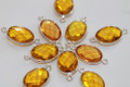 Citrine Yellow Quartz Faceted Oval Bezel Gemstone Sterling Silver Connector