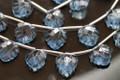 London Blue Quartz Carved Heart Shaped Leaf Briolettes